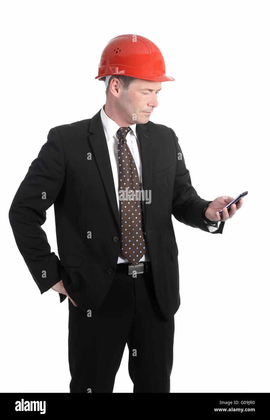 architect with mobile phone - Stock Image