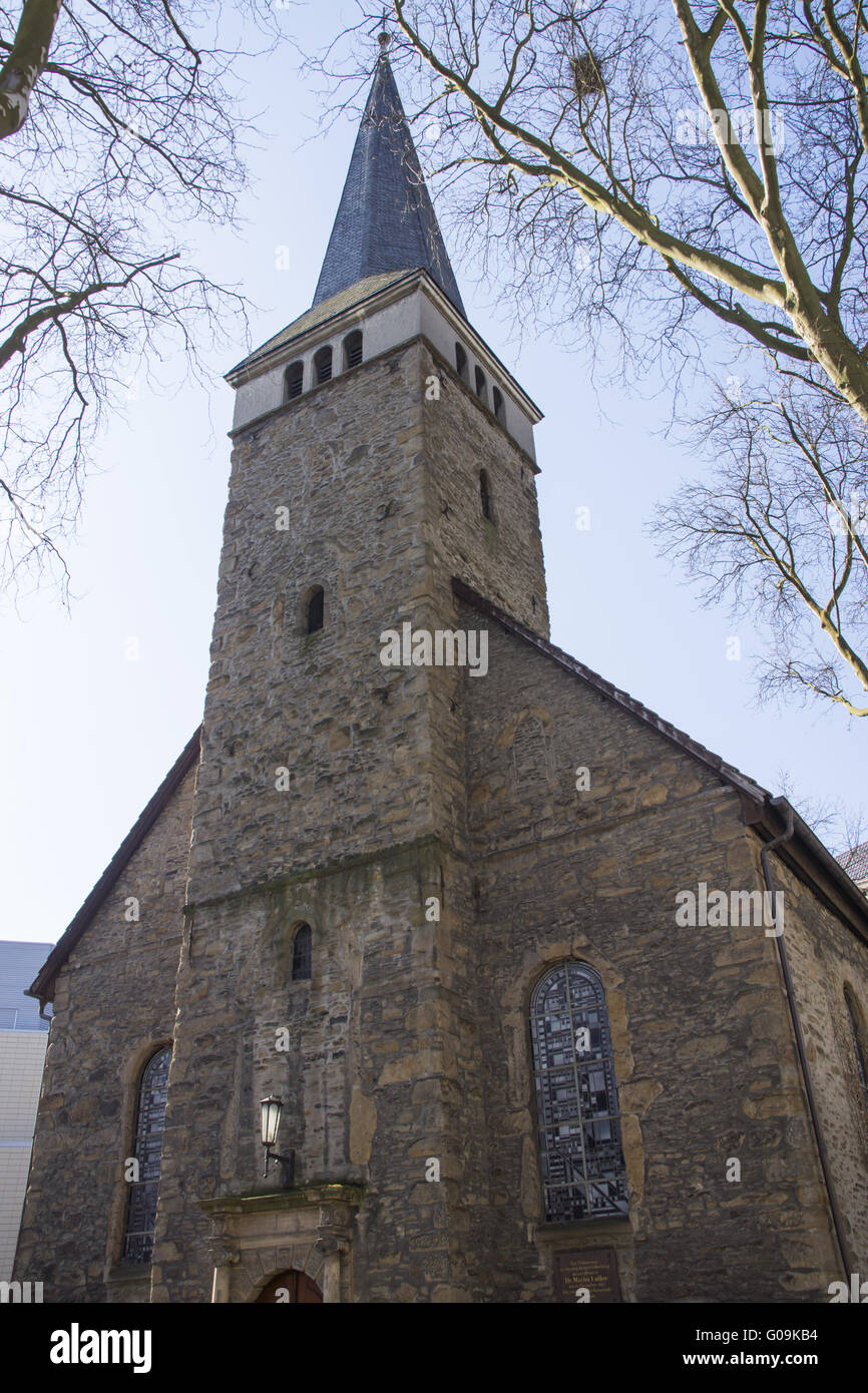Paulus church in the inner city of Bochum, Germany - Stock Image