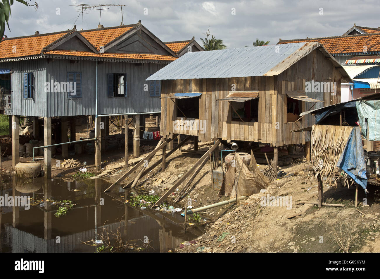 Stilt houses, Pre Kolam, Cambodia Stock Photo