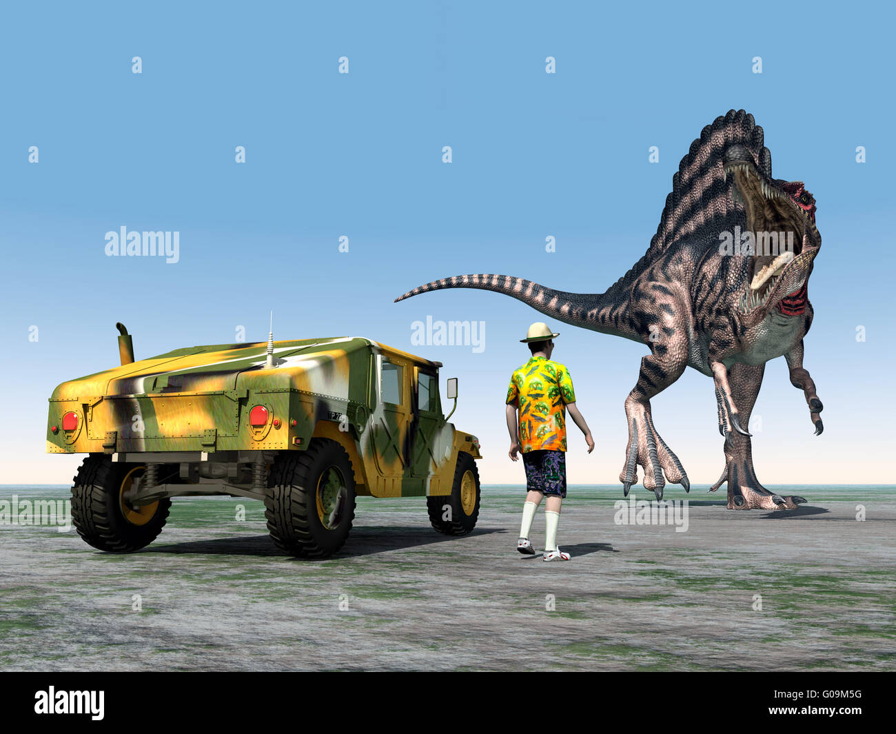 Reckless Tourist and the Dinosaur Spinosaurus - Stock Image