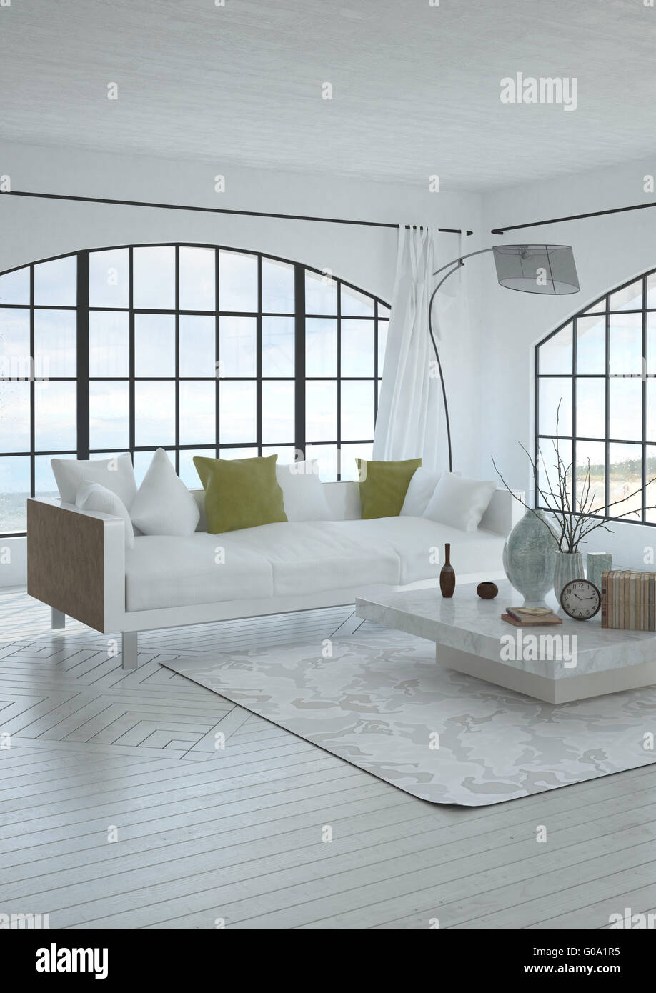 3D architecture render of peaceful spacious white living room with ...