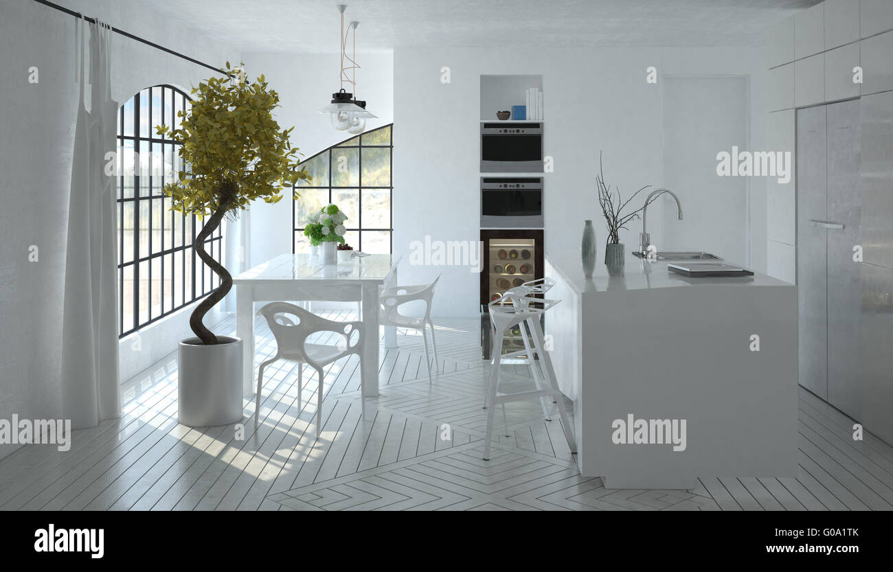 Compact Open Plan Bright White Kitchen Stock Photos & Compact Open ...