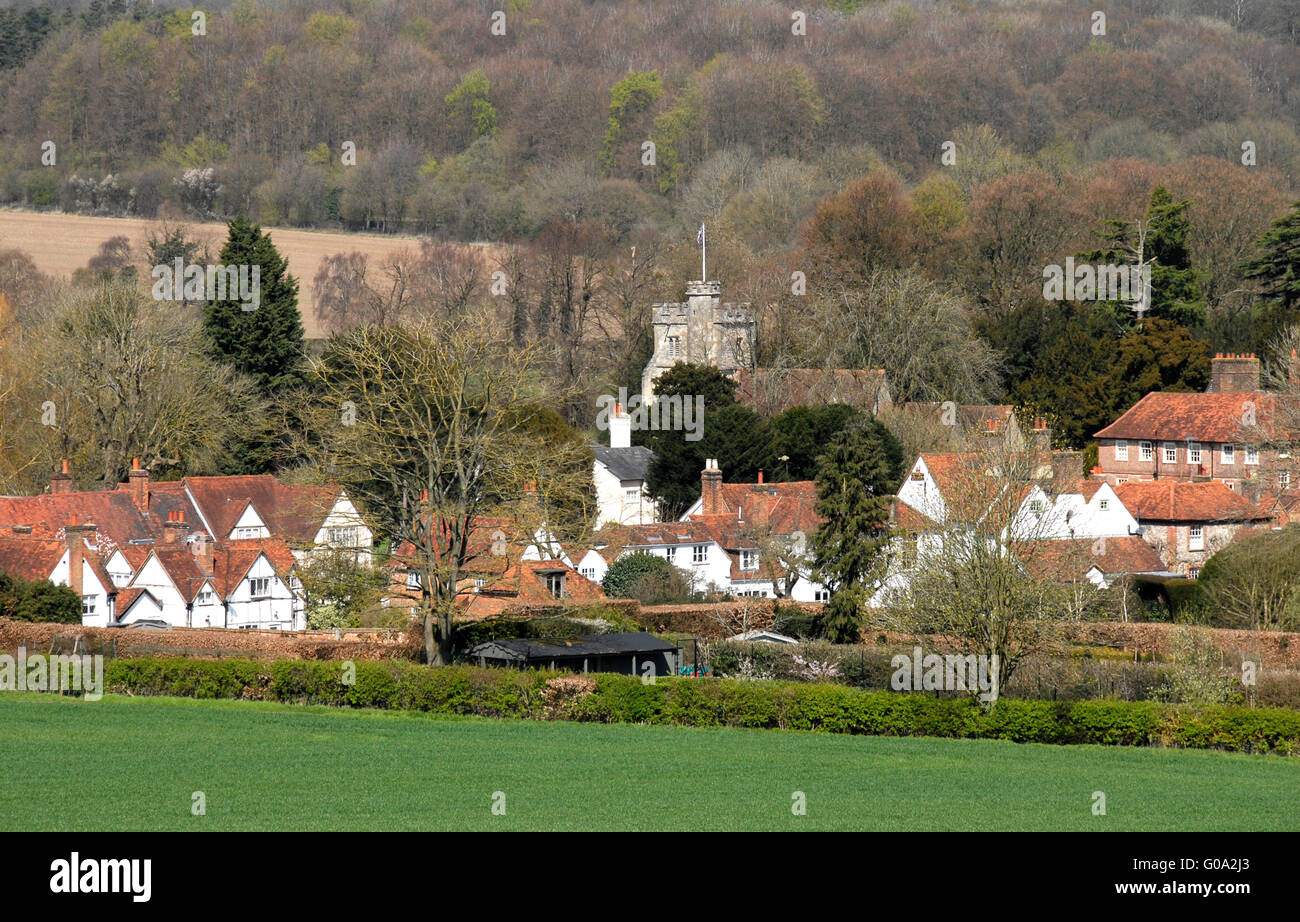 Buckinghamshire - Chiltern Hills - Little Missenden  - church tower - cottage rooftops - russet tiles - early spring - Stock Image