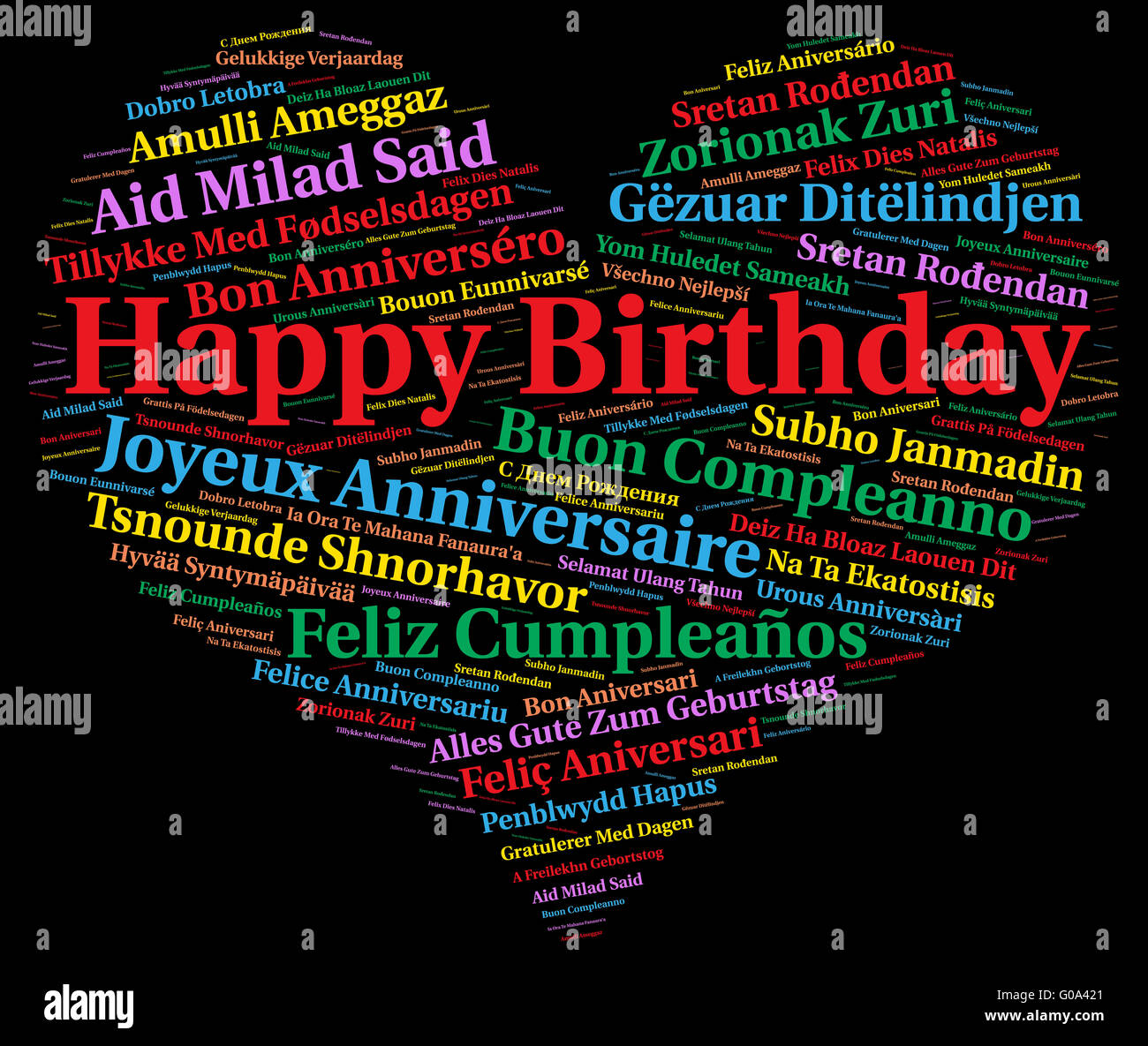 Happy Birthday In Different Languages High Resolution Stock Photography And Images Alamy