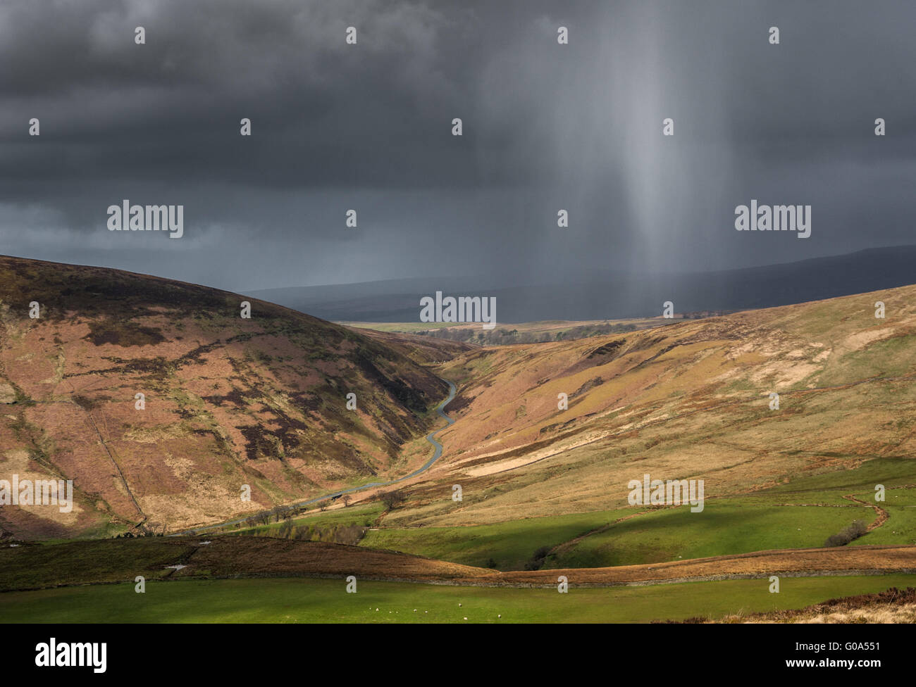 A Squall over The Trough Of Bowland in Lancashire - Stock Image