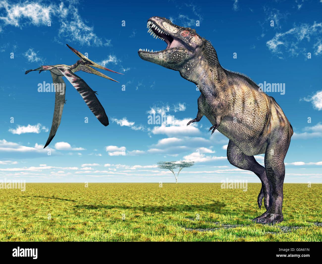 Tyrannosaurus Rex and the Pterosaur Pteranodon - Stock Image