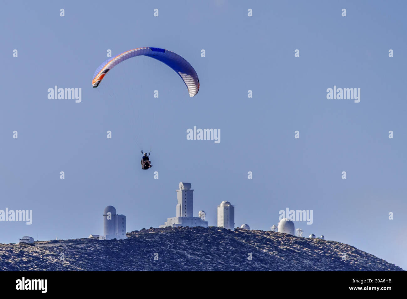 Paraglider Passing Over Telescopes Tenerife Canary - Stock Image