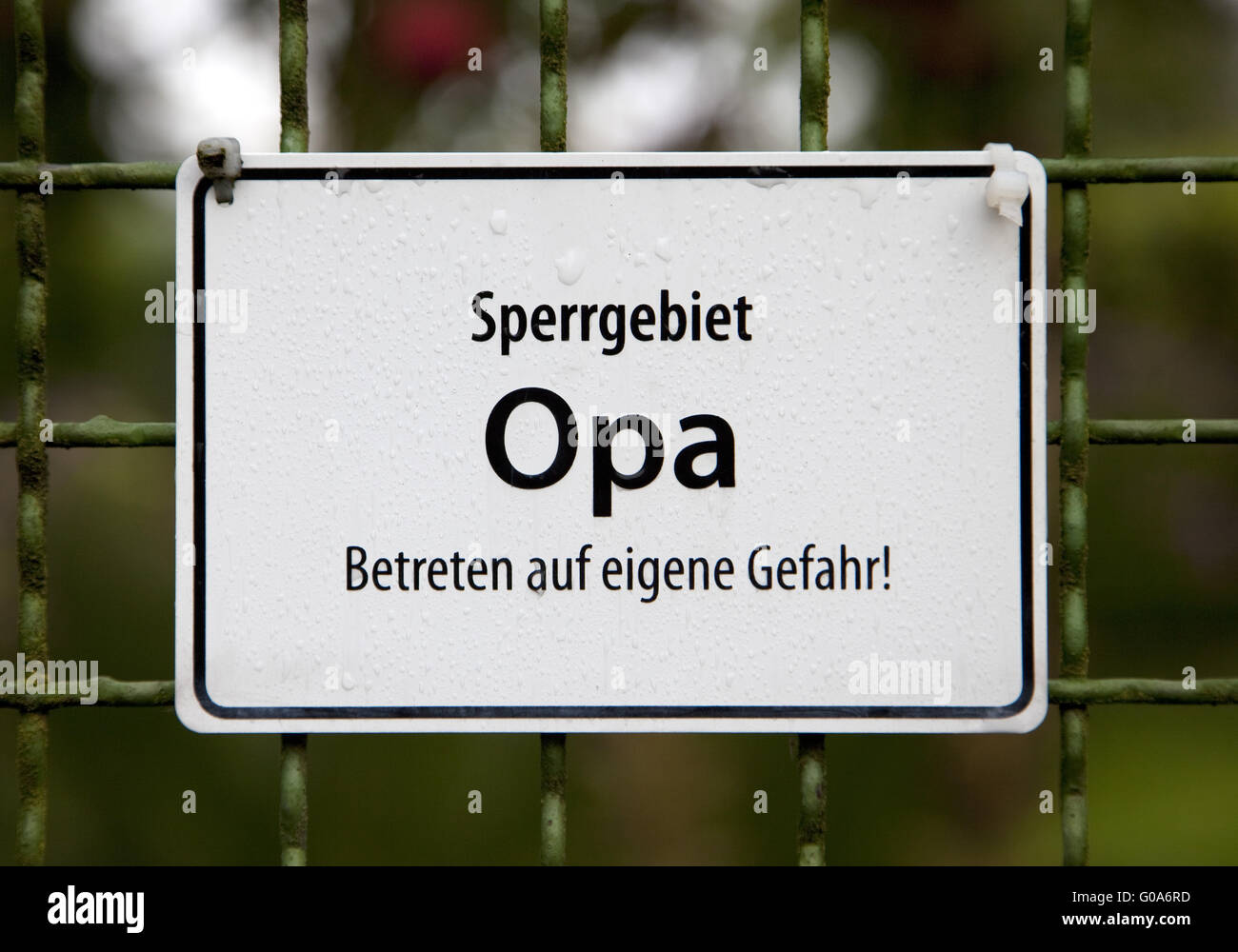 Sign restricted area grandpa, Alt Wetter, Germany. - Stock Image