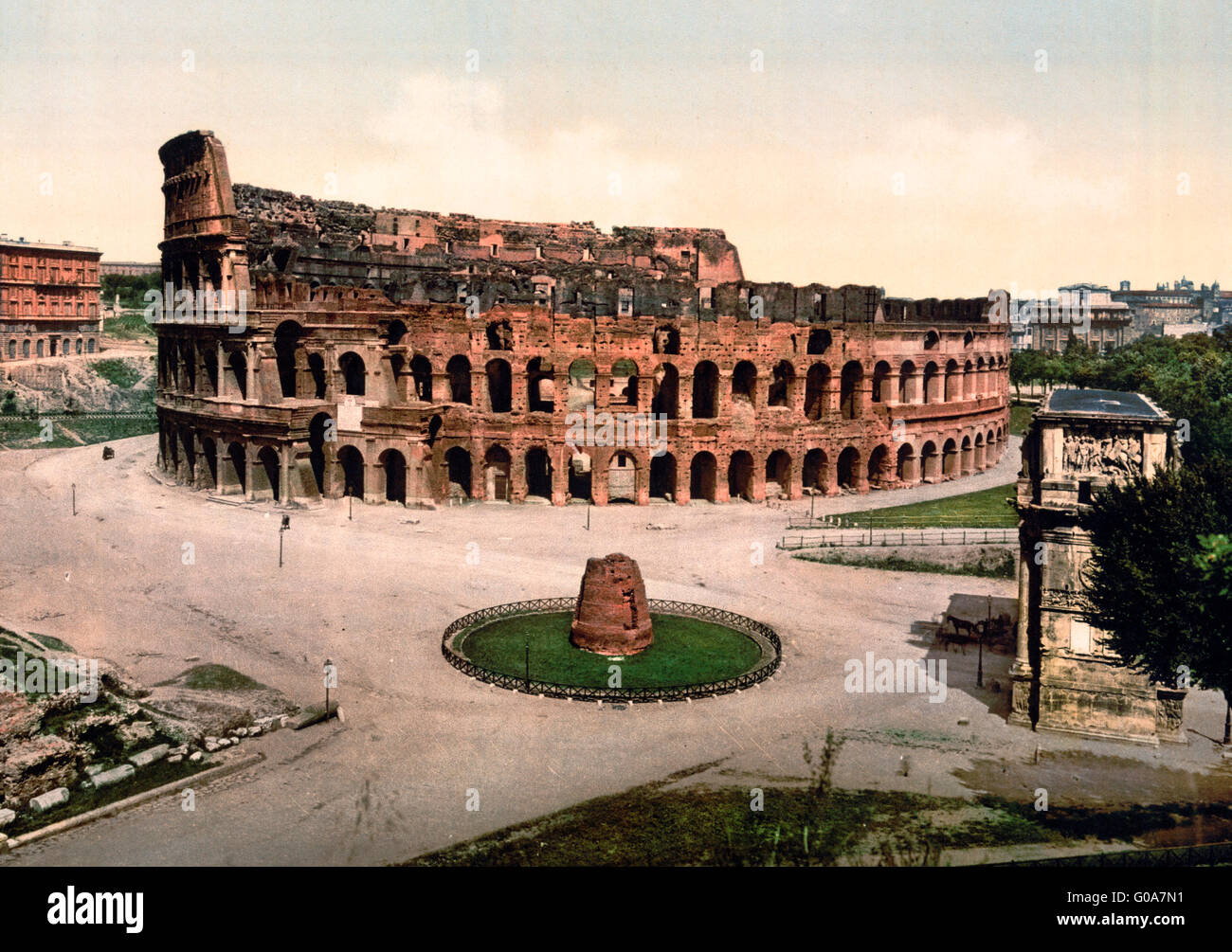 The Coliseum and Meta Sudans, Rome, Italy, circa 1900 - Stock Image