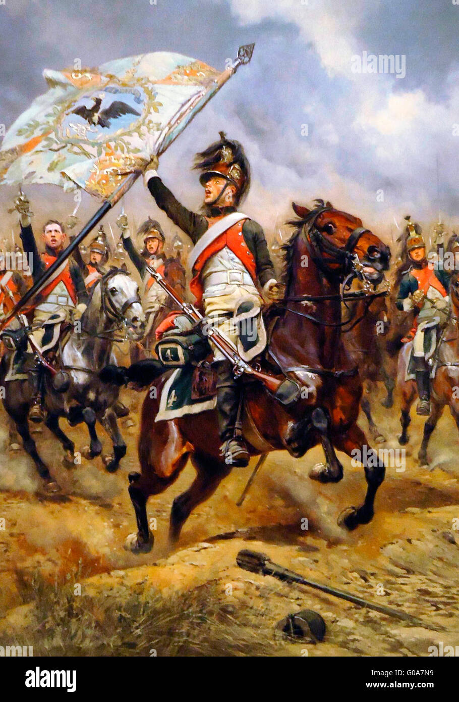French dragoon with captured Prussian flag at the battle of Jena    'Le Trophee' by Edouard Detaille - Stock Image