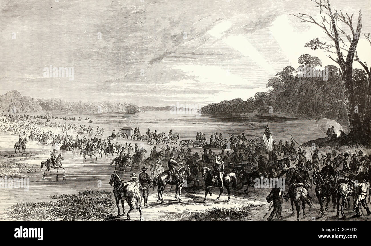 The Confederate Invasion of Maryland and Pennsylvania - The Confederate Cavalry crossing the Potomac, June 11, 1863. - Stock Image