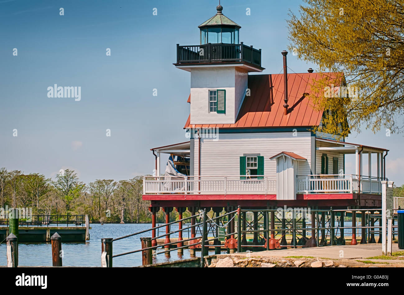 town of edenton roanoke river lighthouse in nc - Stock Image
