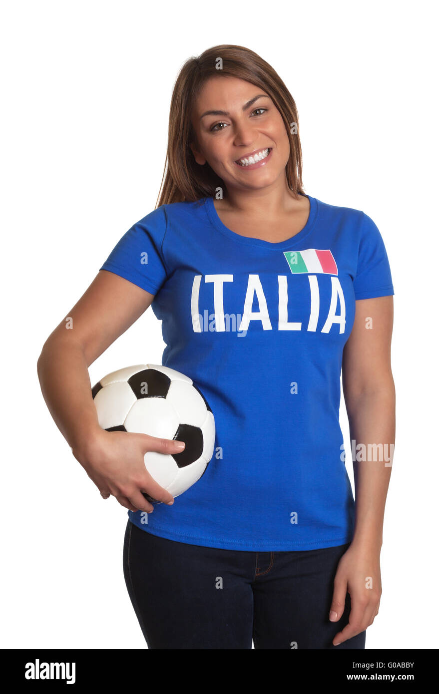 Standing italian girl with football Stock Photo