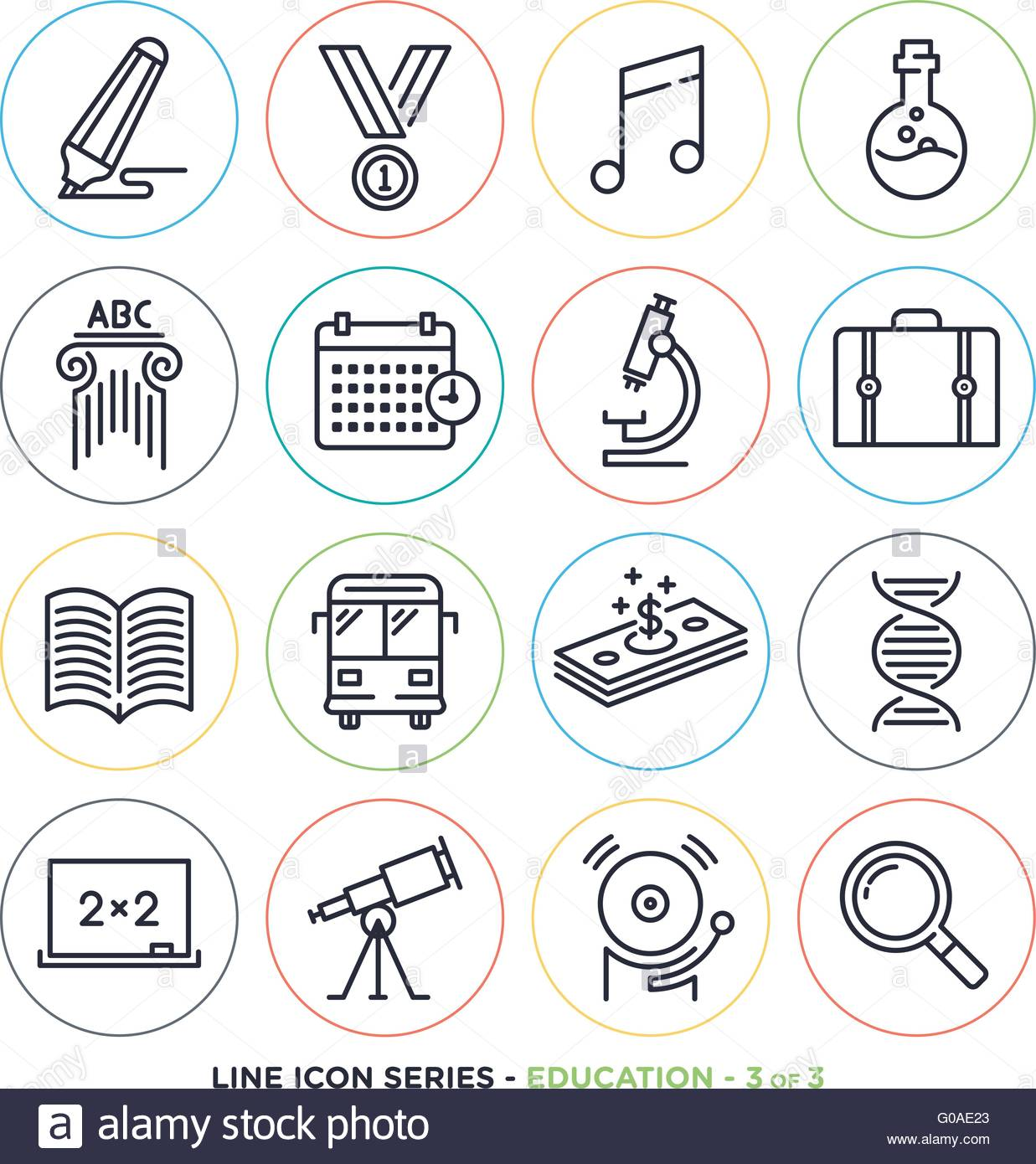 Education Learning Line Icons Set Vector Collection Of Teaching