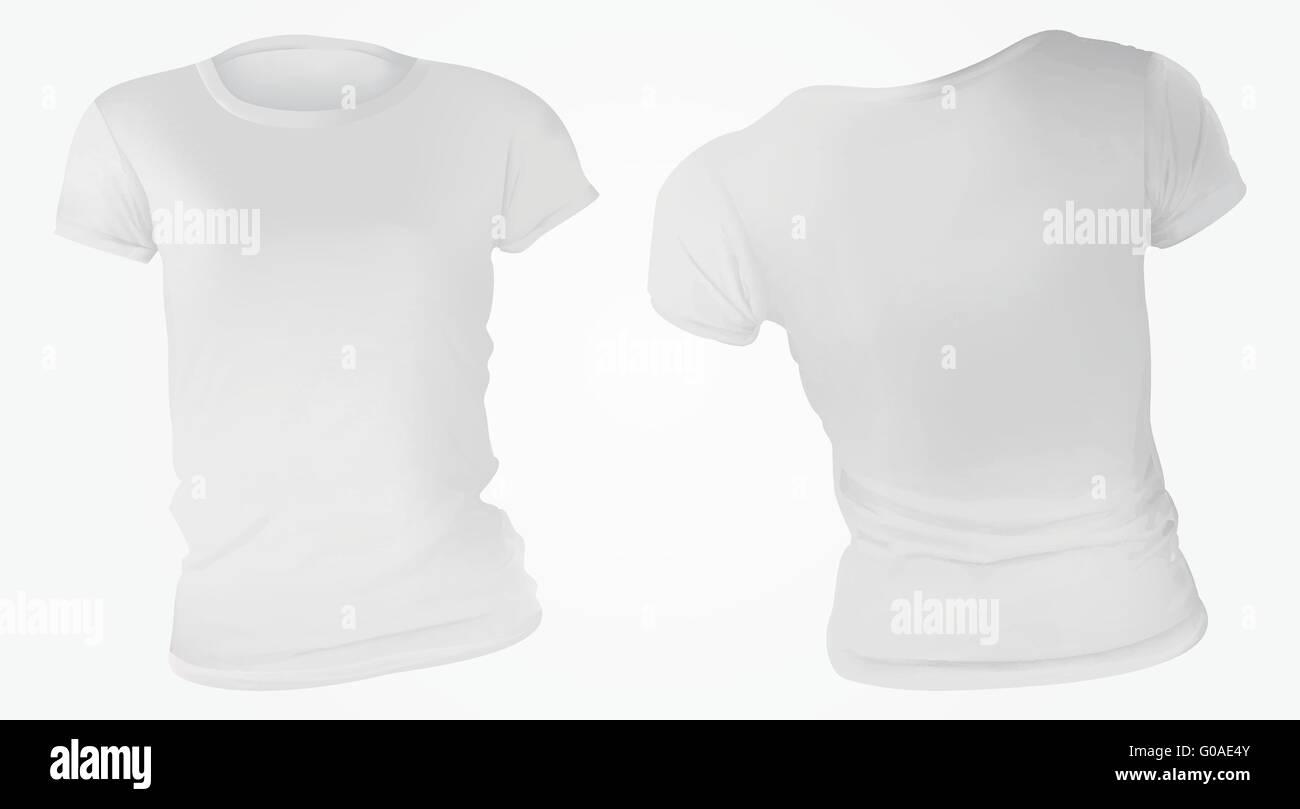 384f2985567bd Vector illustration of blank white t-shirt template for women