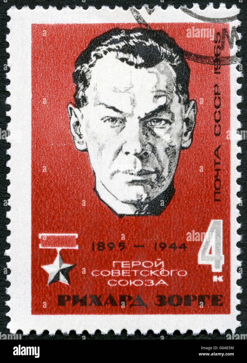 USSR - 1965: shows portrait of Richard Sorge (1895-1944), Soviet spy and Hero of the Soviet Union - Stock Image
