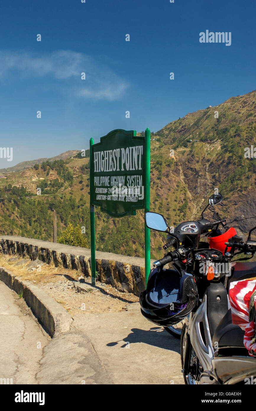 Motorcycles at the highest point of the Philippine - Stock Image
