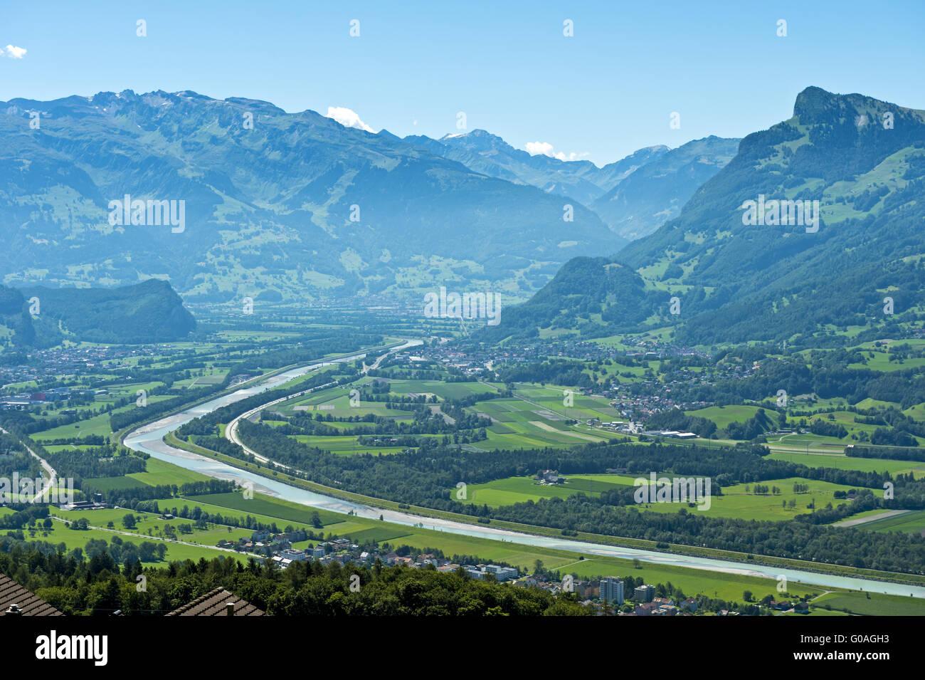 Rhine valley near Balzers,Liechtenstein Stock Photo
