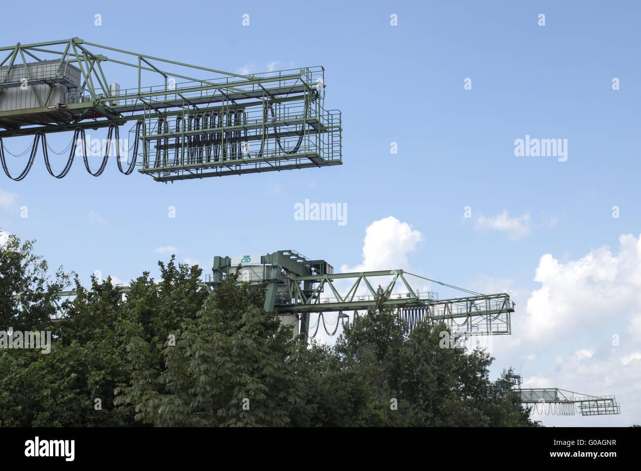 Gantry crane, container harbour Dortmund, Germany Stock Photo