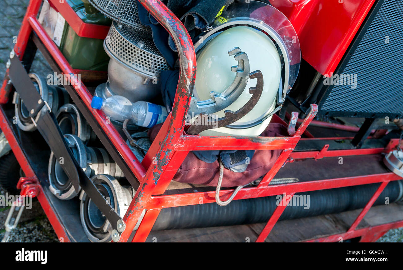 Close-up picture of firefighting equipment on a sm - Stock Image