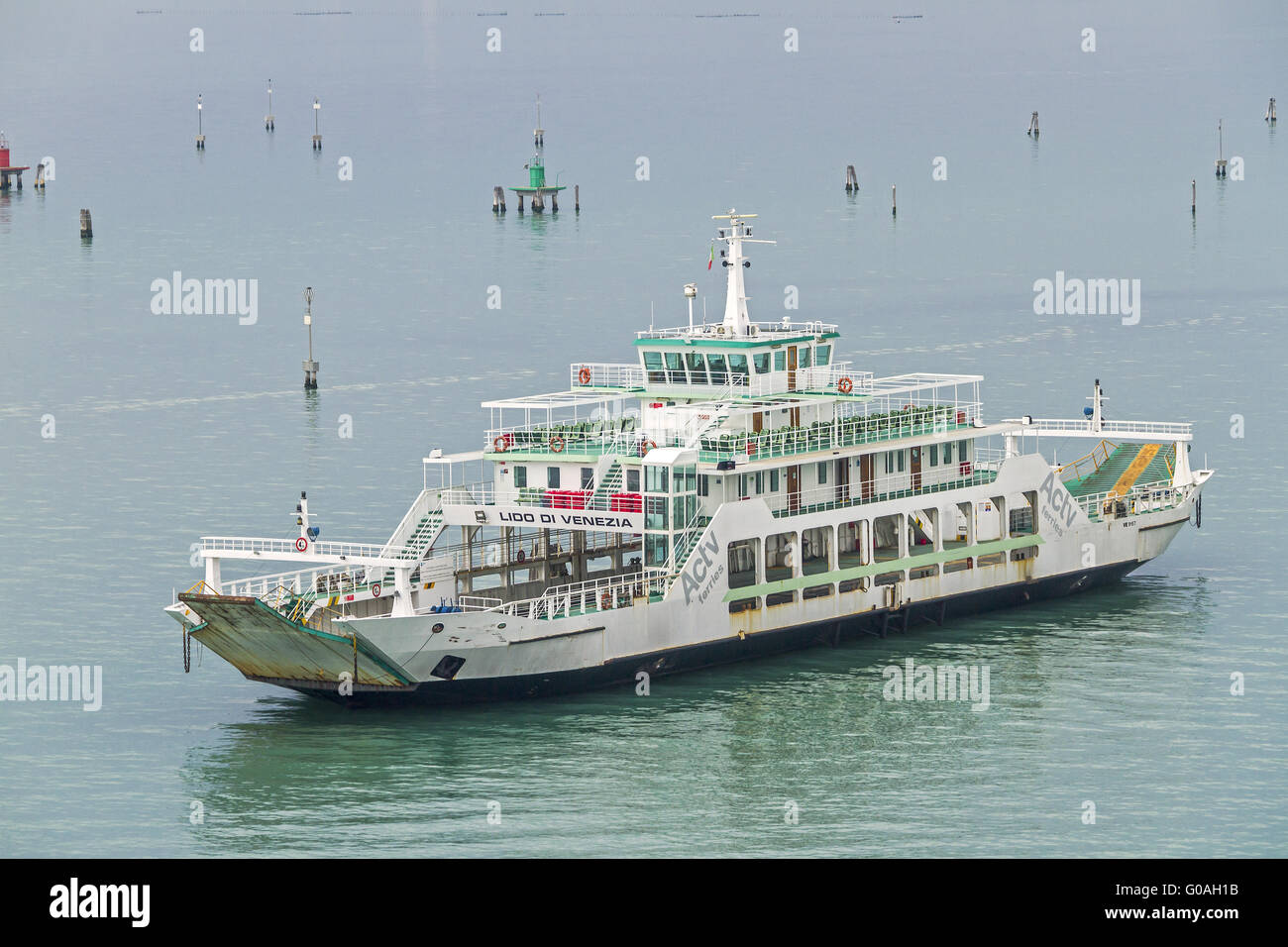 Ferry Manoeuvring Around Obstacles Venice Italy - Stock Image