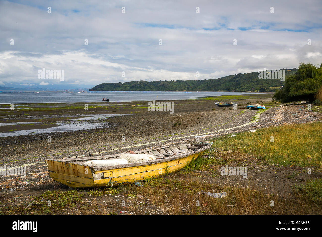 Low tide on Quinchao Island, Chile, South America. - Stock Image