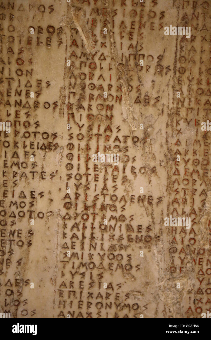 Greek inscription: List of citizen killed on the field of honor (the dead of the Athenian tribe of Erechteides). - Stock Image