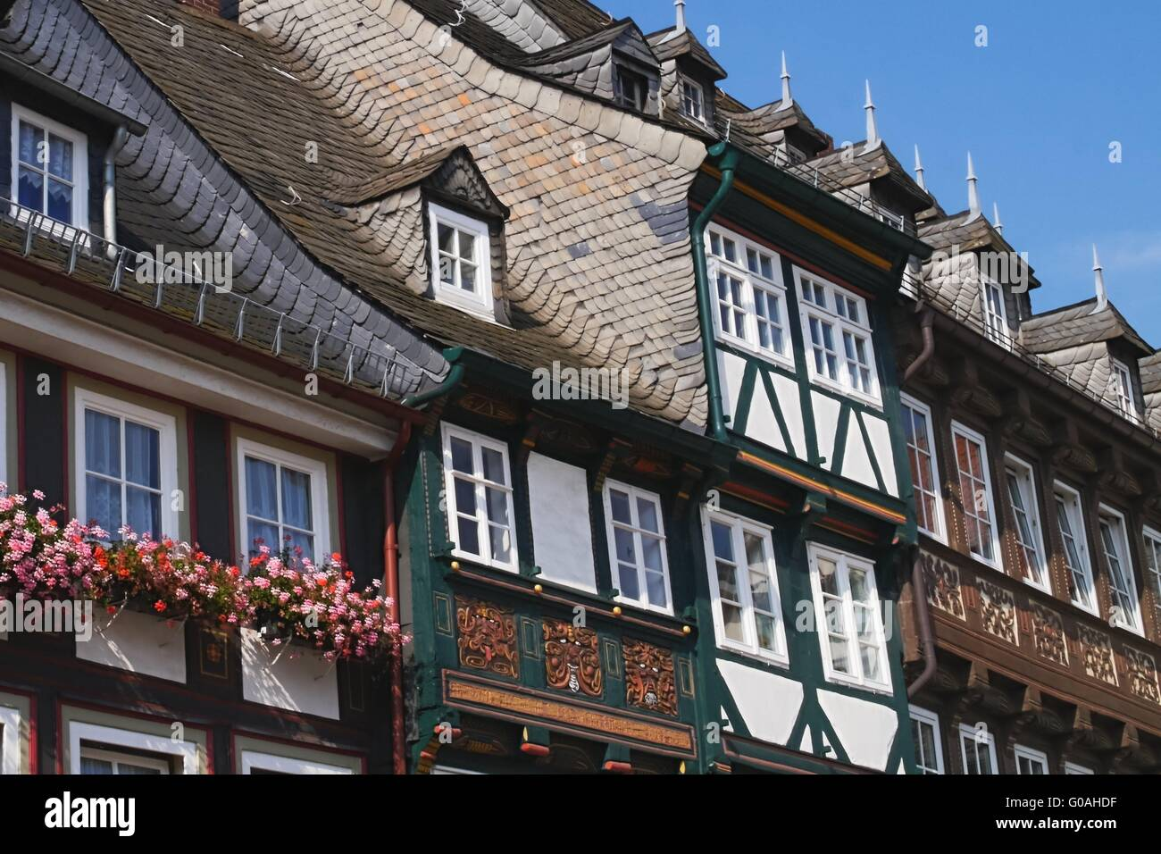 Goslar - Half-timbered houses on Schuhhof - Stock Image