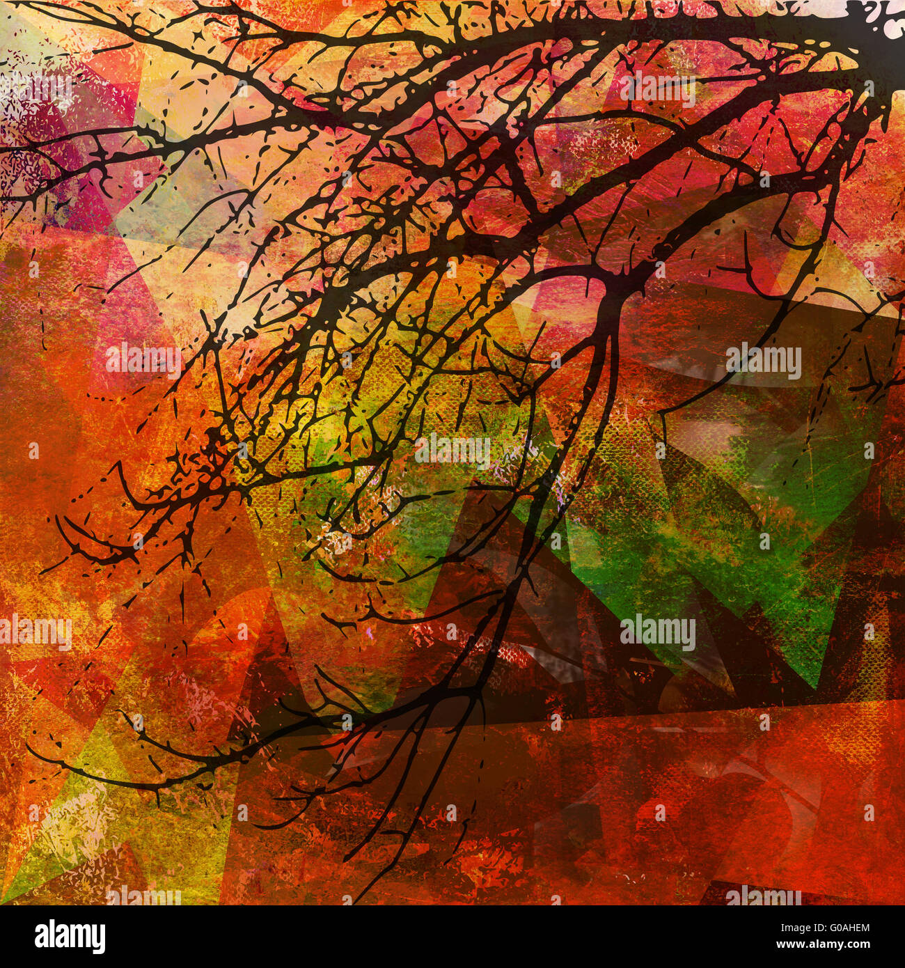 abstract patterned mixed media - Stock Image