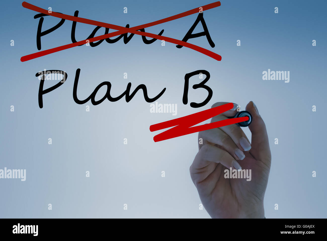 Businesswoman Crossing out Plan A and writing Plan B - Stock Image