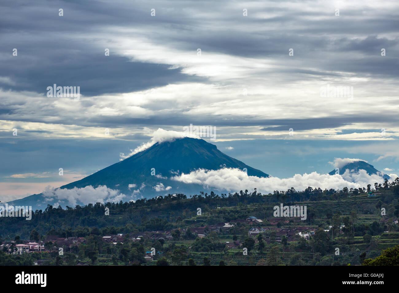 Gunung Sumbing and Sindoro volcanoes on Java, Indonesia - Stock Image