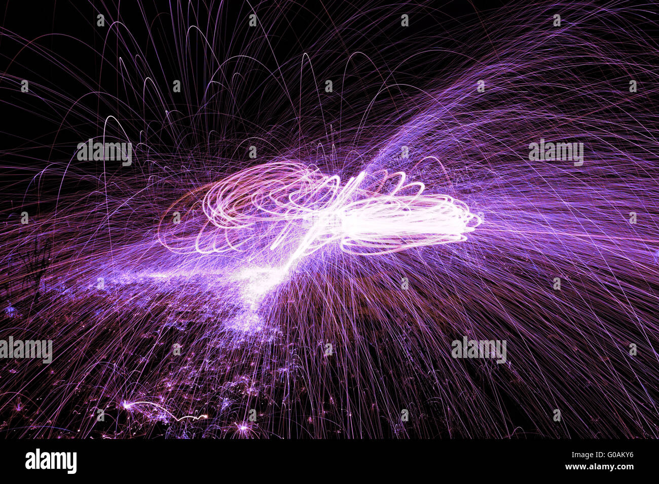 Showers of hot glowing sparks from spinning steel wool. Stock Photo