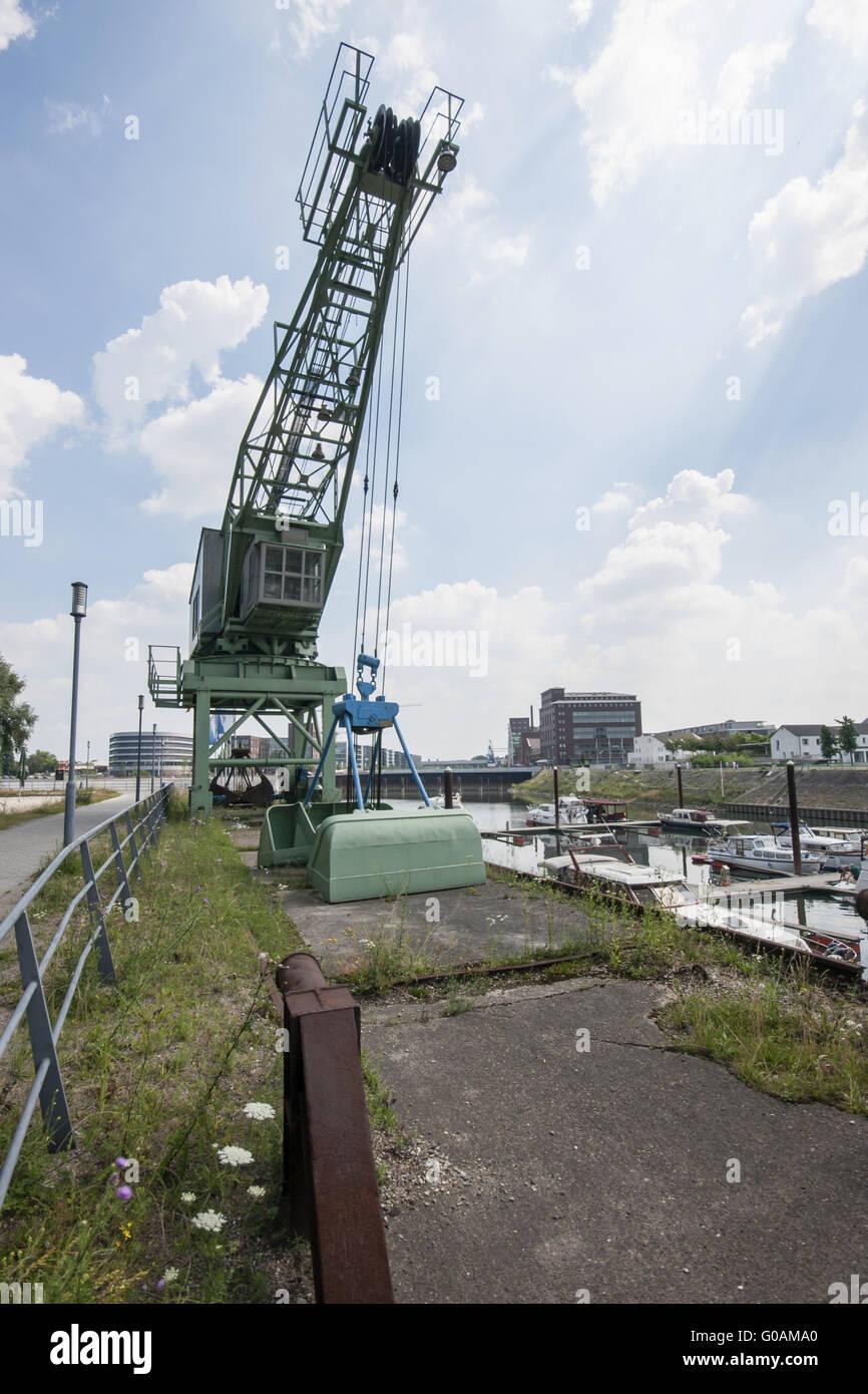 Dockside crane, Inner harbor Duisburg, Germany Stock Photo