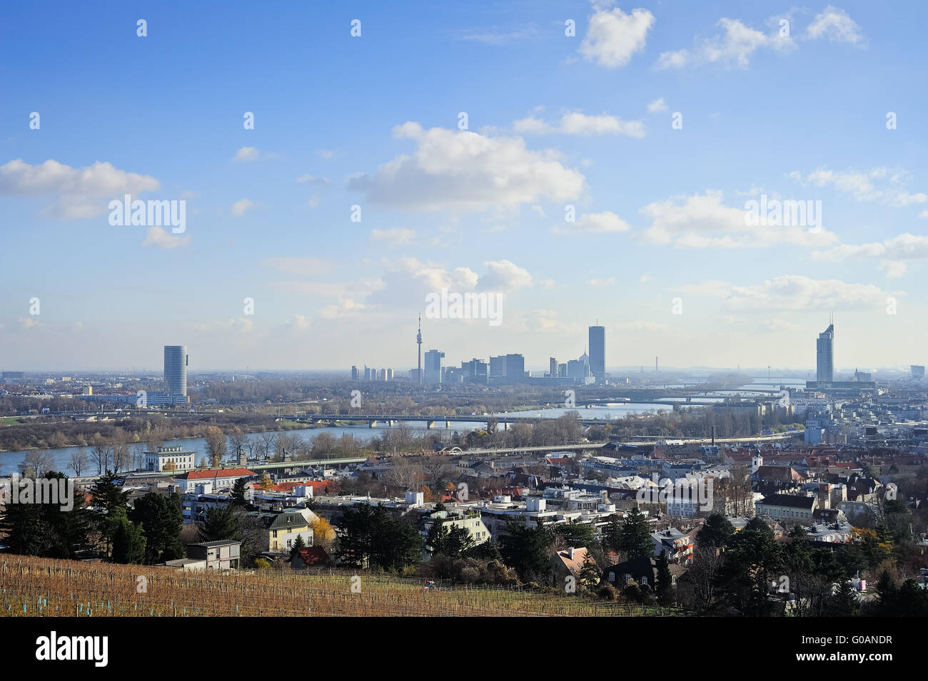 View of Vienna on the Danube from the north with n - Stock Image