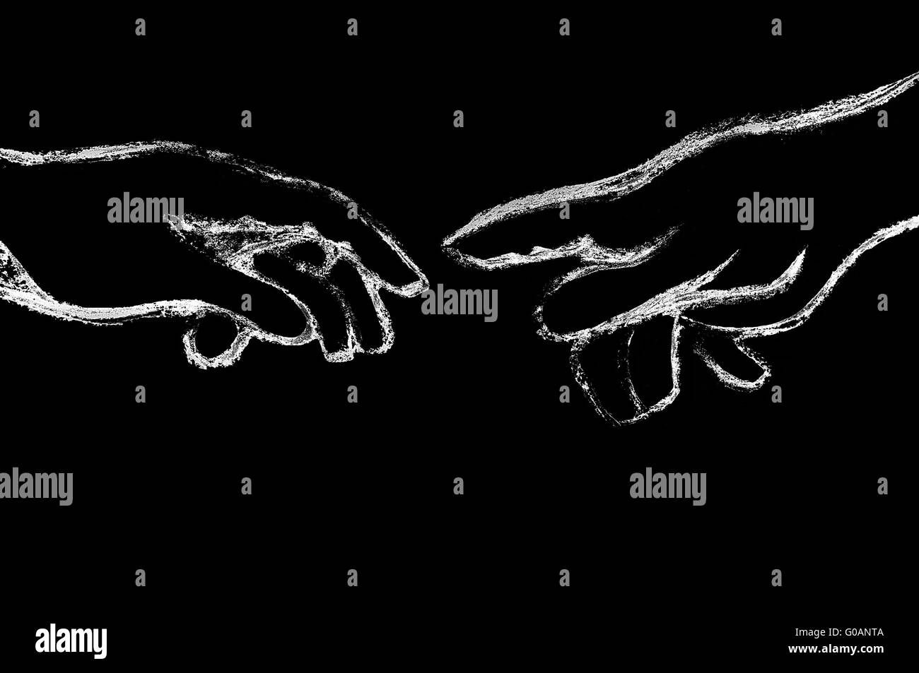 the gesture black background the Creation of Adam Stock Photo