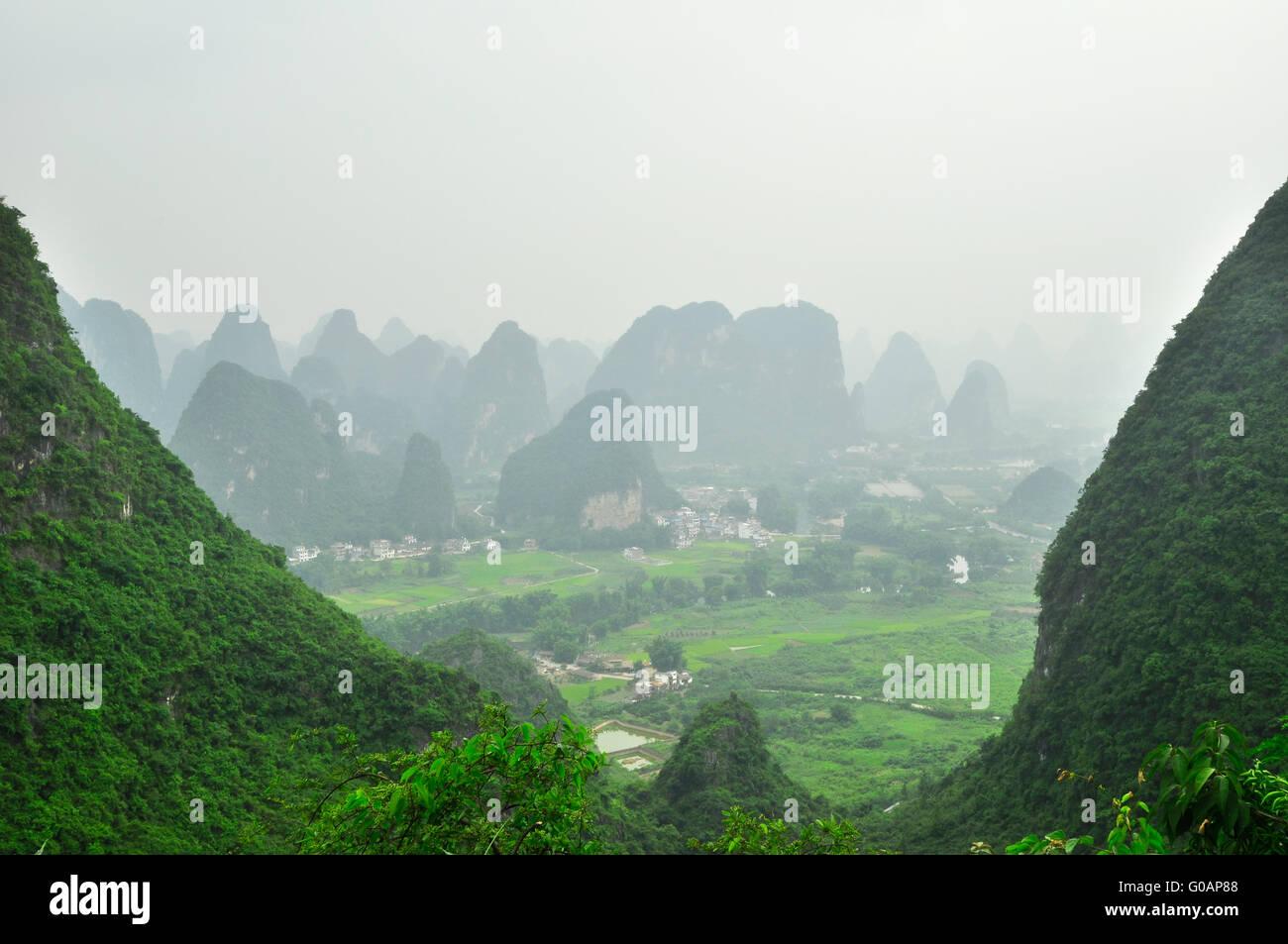 Guilin Li river Karst mountain landscape in Yangshuo Stock Photo