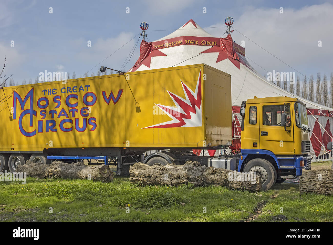 Moscow State Circus Truck and Tent Caversham Readi - Stock Image