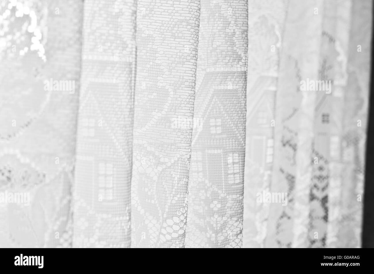 white curtain - Stock Image
