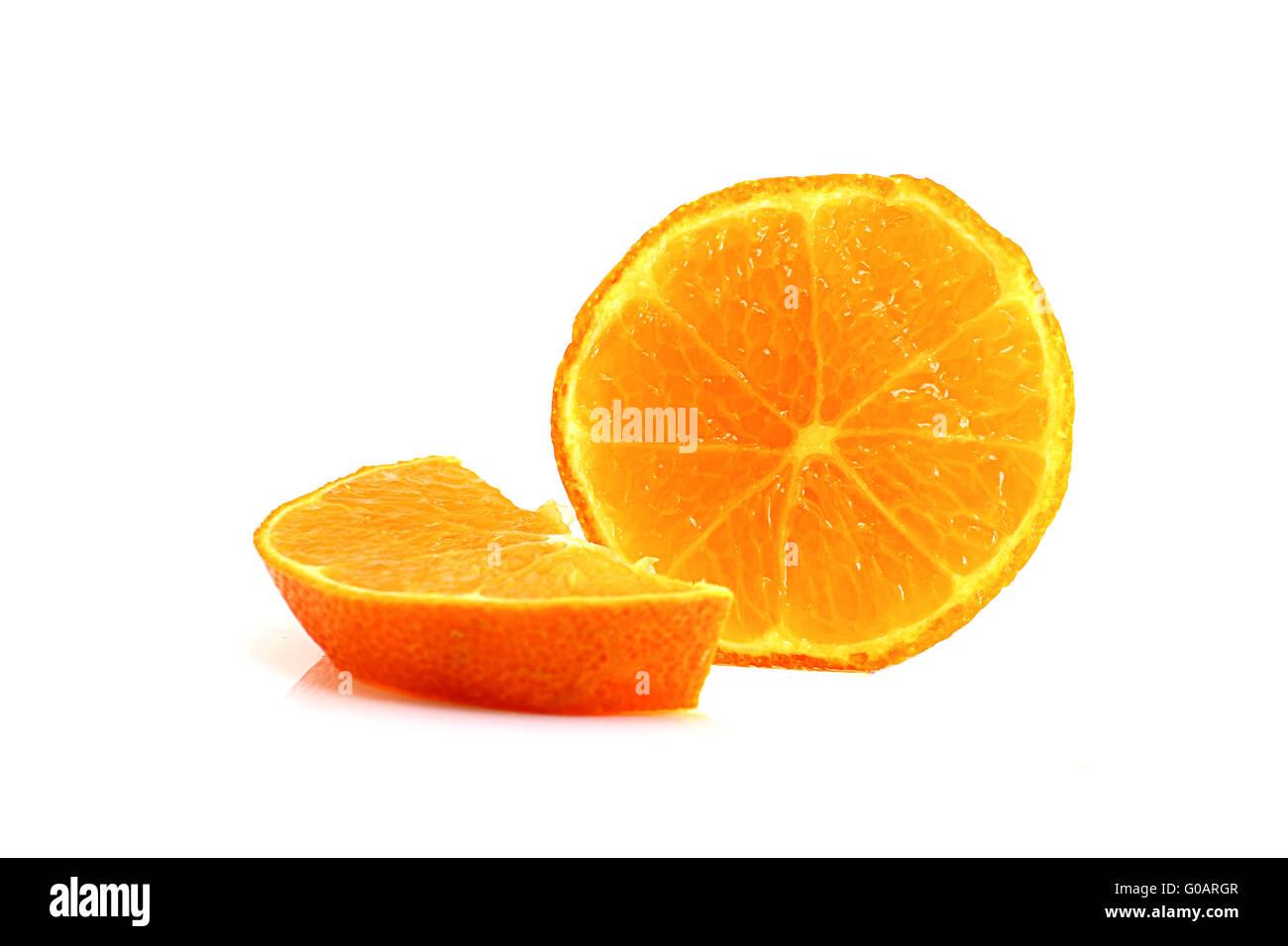 orange slice on withe background - Stock Image