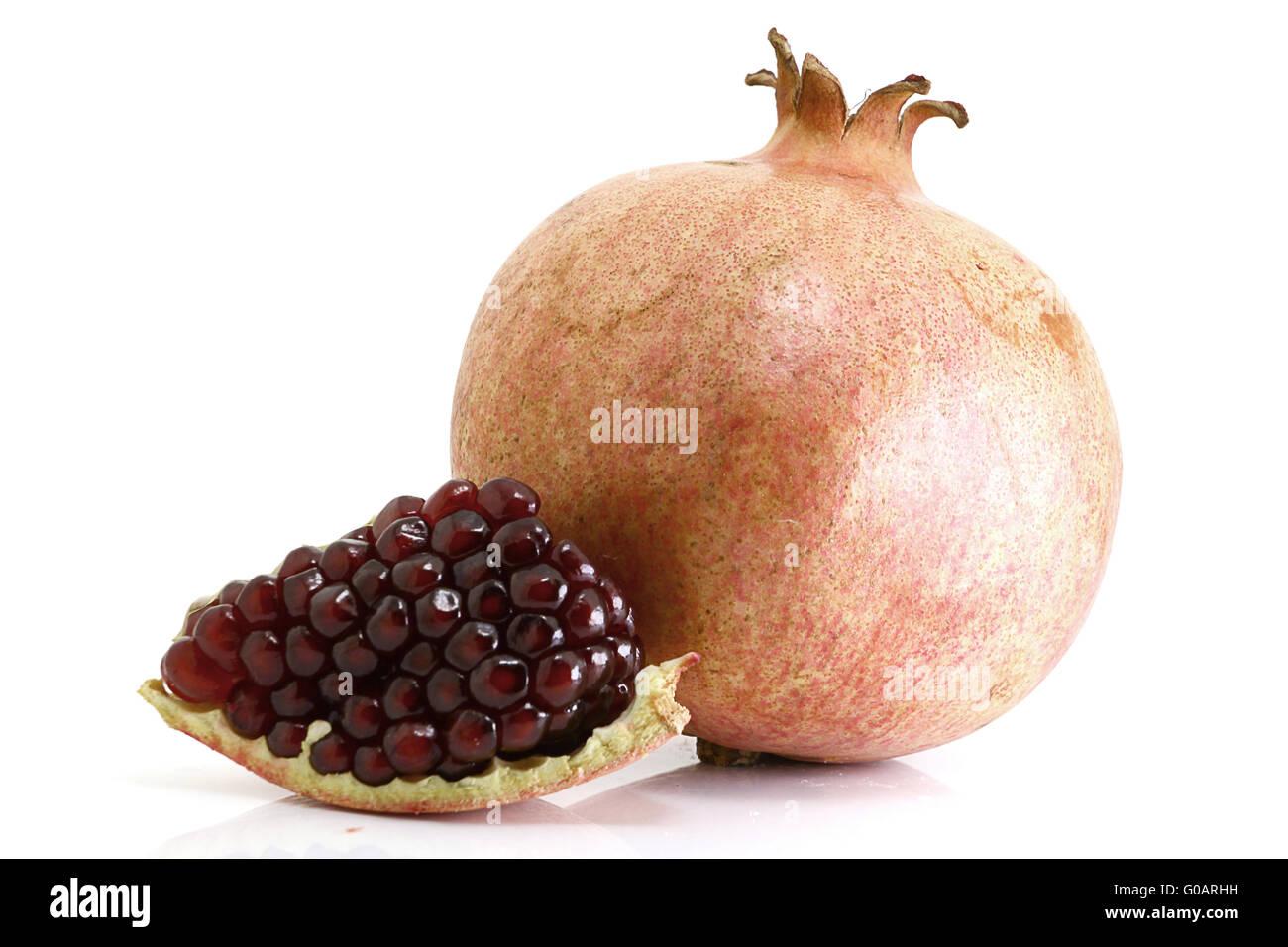 Pomegranate on white background - Stock Image