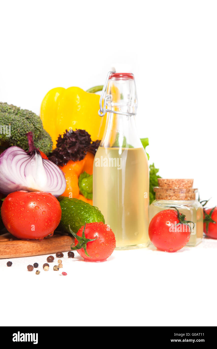 vegetables and oil in a vessel Stock Photo
