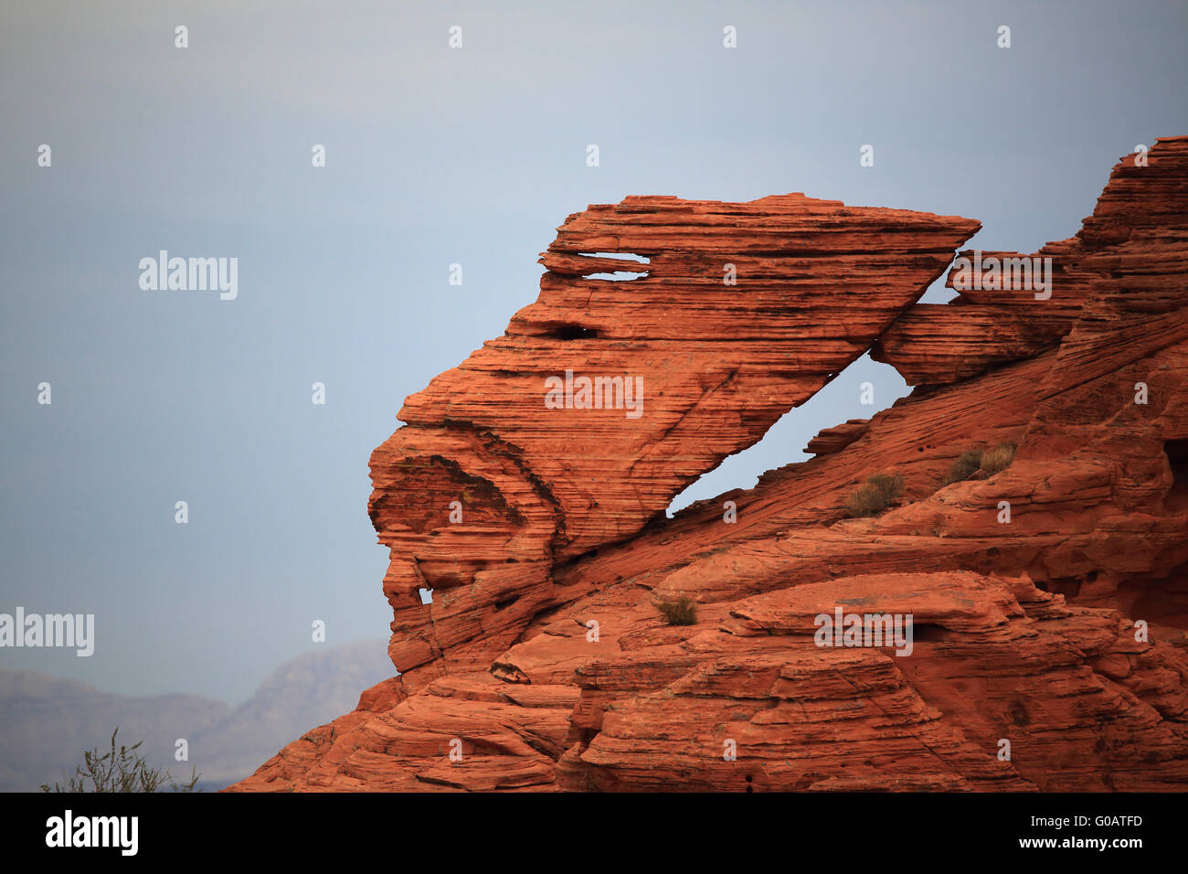 Valley of Fire Panorama Rock Window Stock Photo