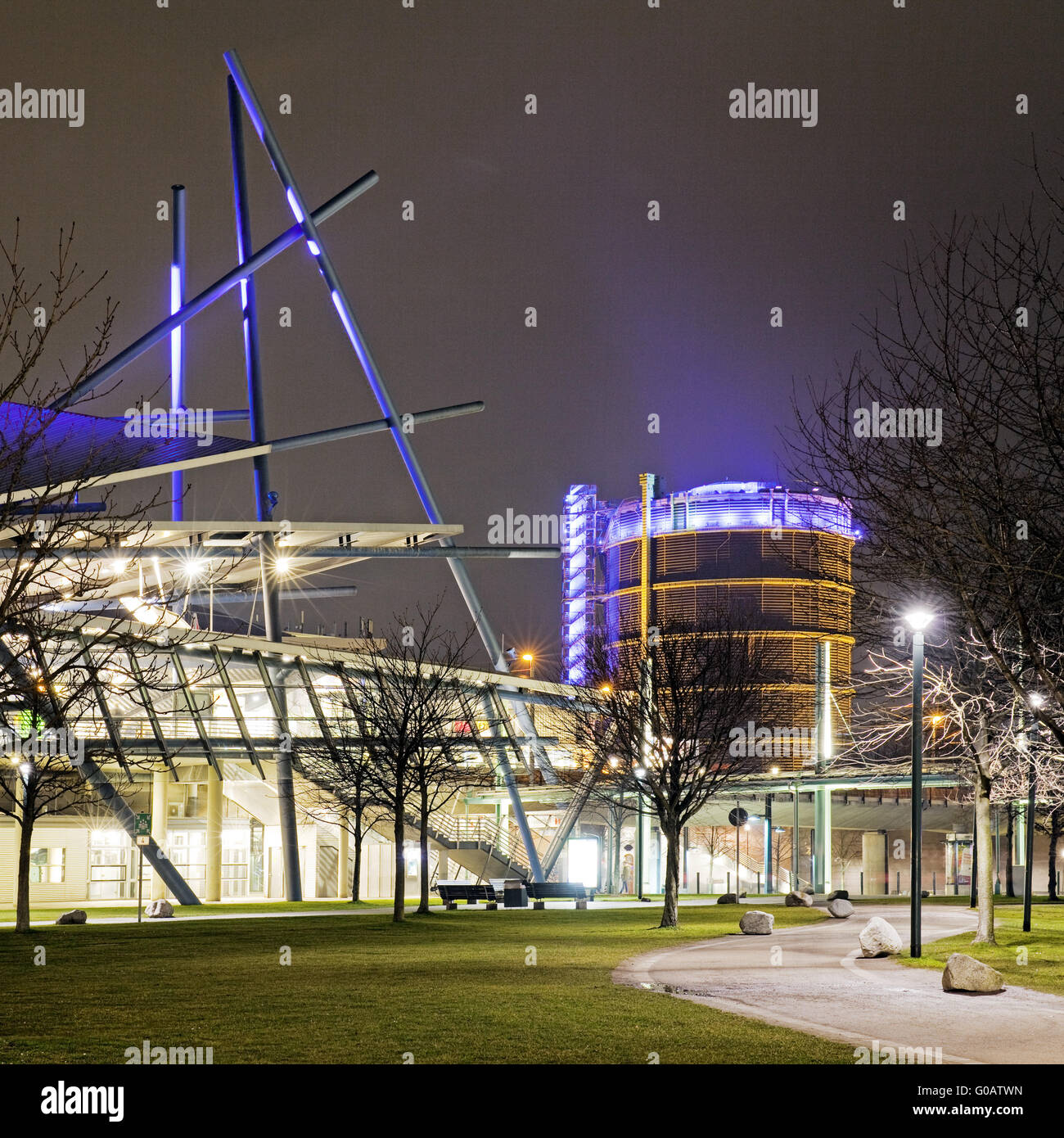 New center with Gasometer, Oberhausen, Germany Stock Photo