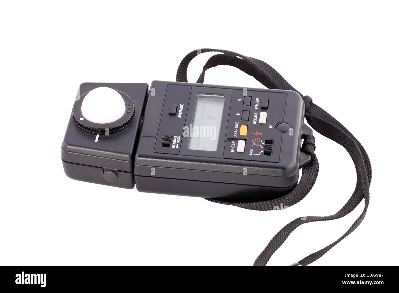 Black photography flash light meter on white background - Stock Image