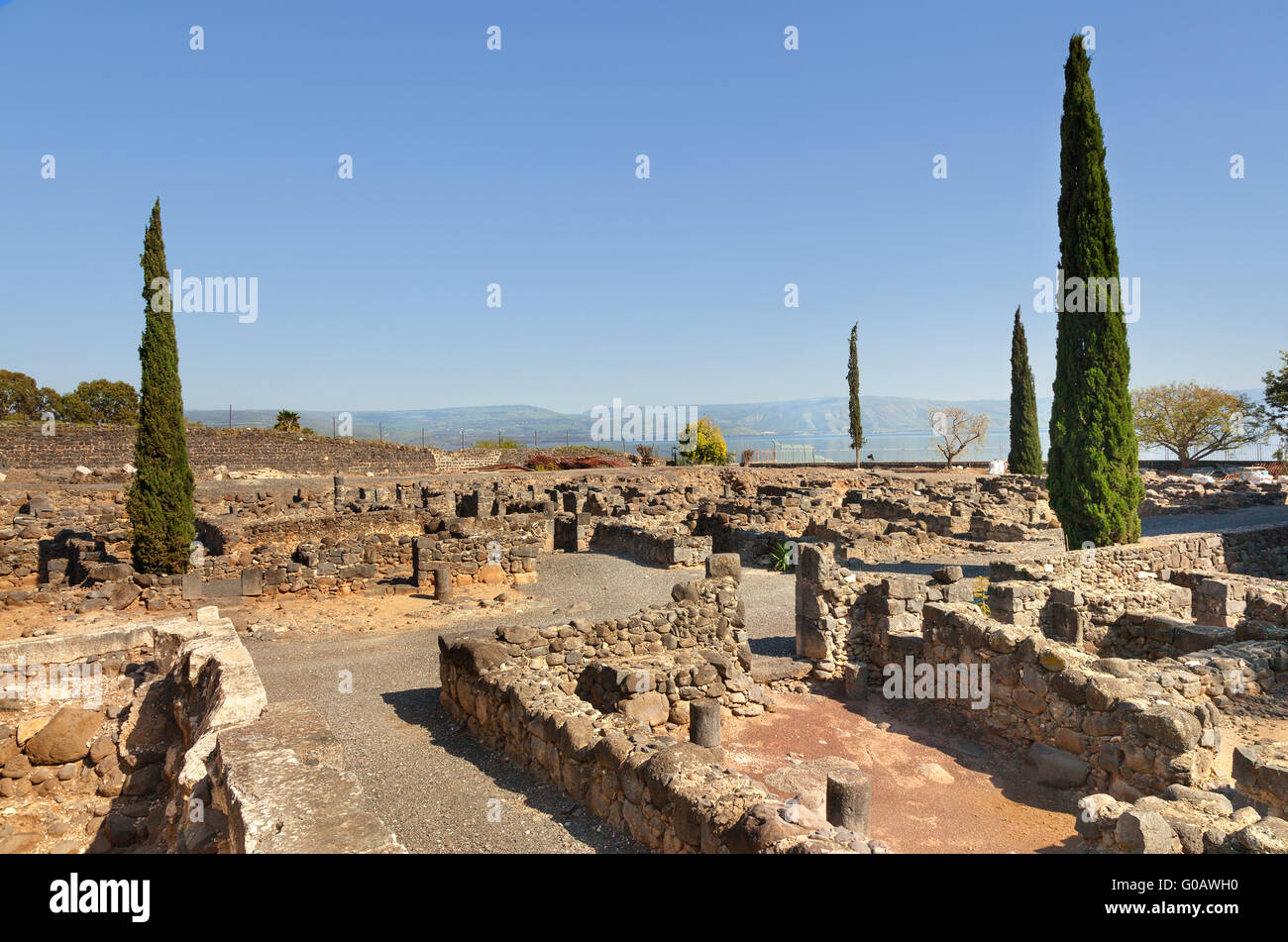 Ruins of the synagogue of Capernaum on Kinneret, Israel Stock Photo