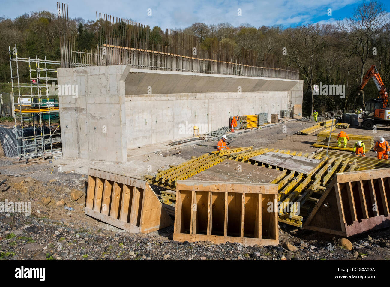 Construction of A465 Heads of the Valleys road. Formwork is assembled for the concrete pour of the flyover, Station - Stock Image