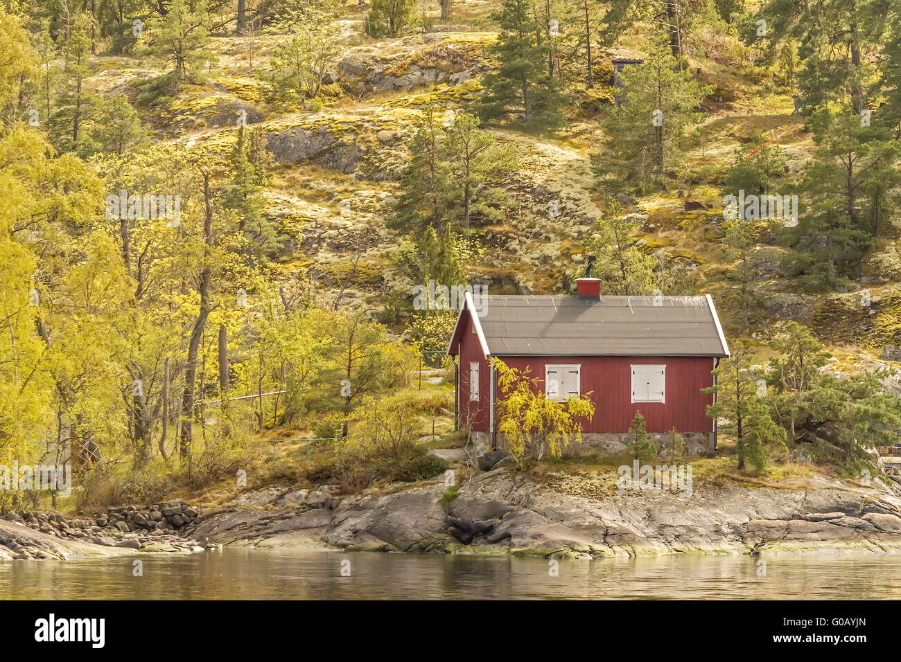 Fishing Hut At The Bottom Of The Hill Stockholm Sw - Stock Image