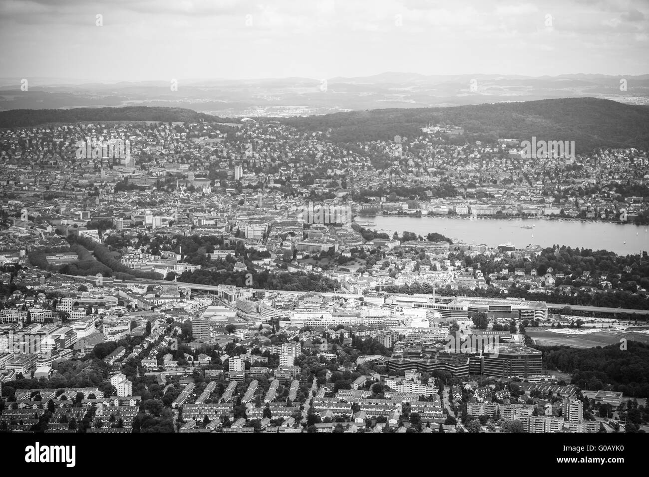 Aerial view of Zurich city and lake in black and white on top of Uetliberg, Zurich, Switzerland - Stock Image