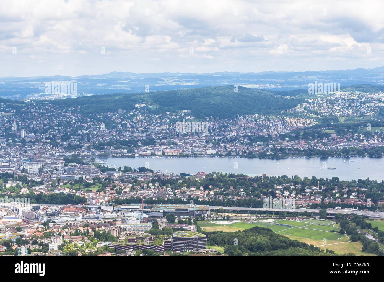 Panorama view of Zurich city and lake on  top of Uetliberg, Zurich, Switzerland - Stock Image