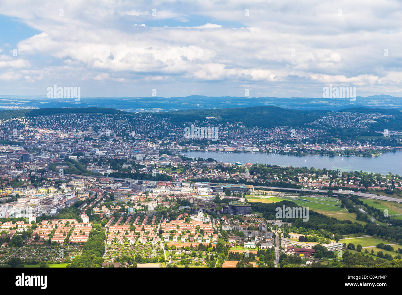 Aerial view of Zurich city and lake from top of Uetliberg, Switzerland - Stock Image